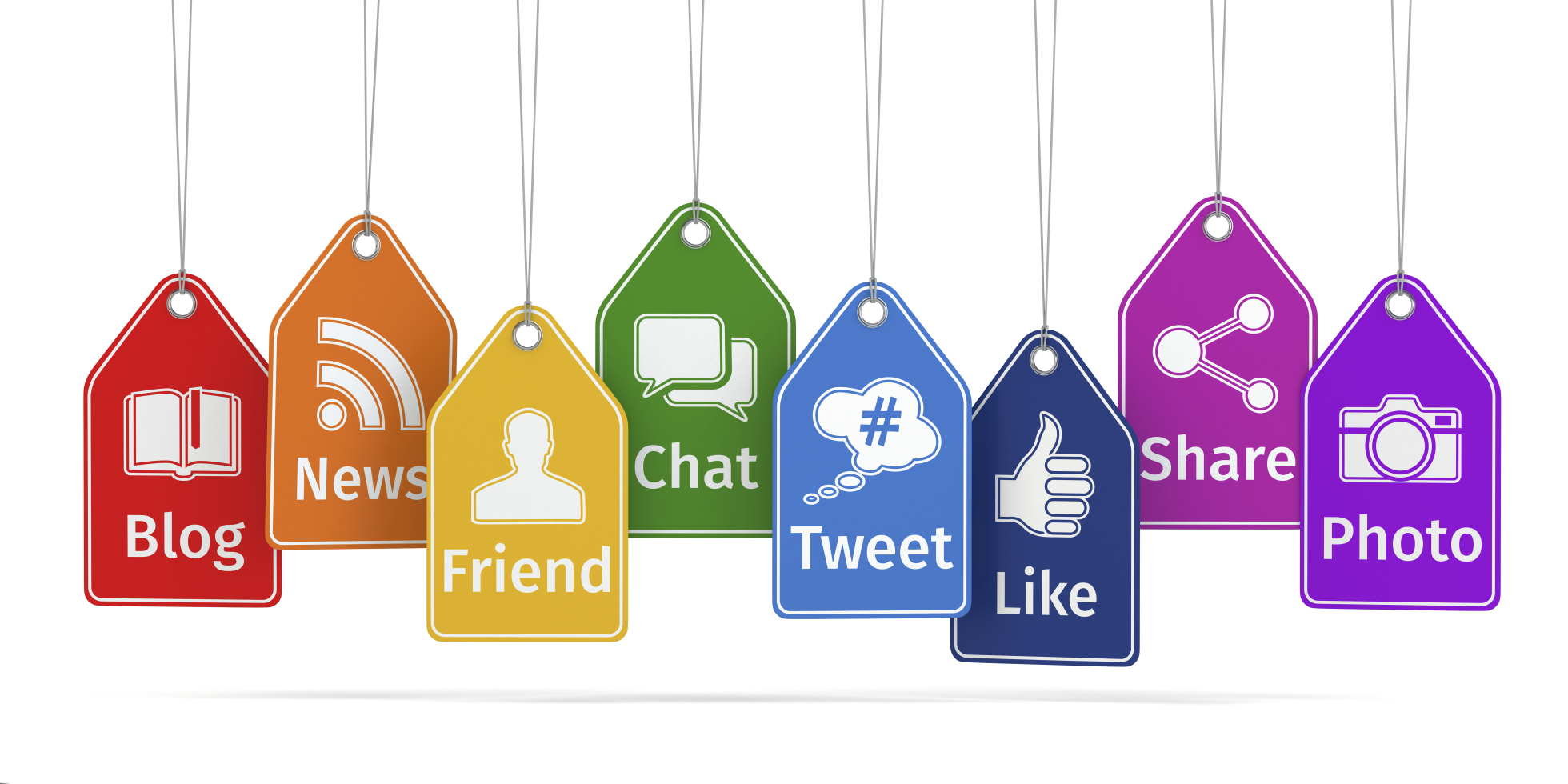 Labels with social media icons. Concept.